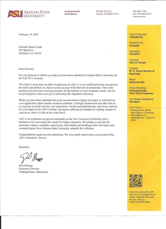 Arizona State University Letter Of Recommendation
